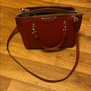 Michael Kors large Rochelle tote burgundy and gold